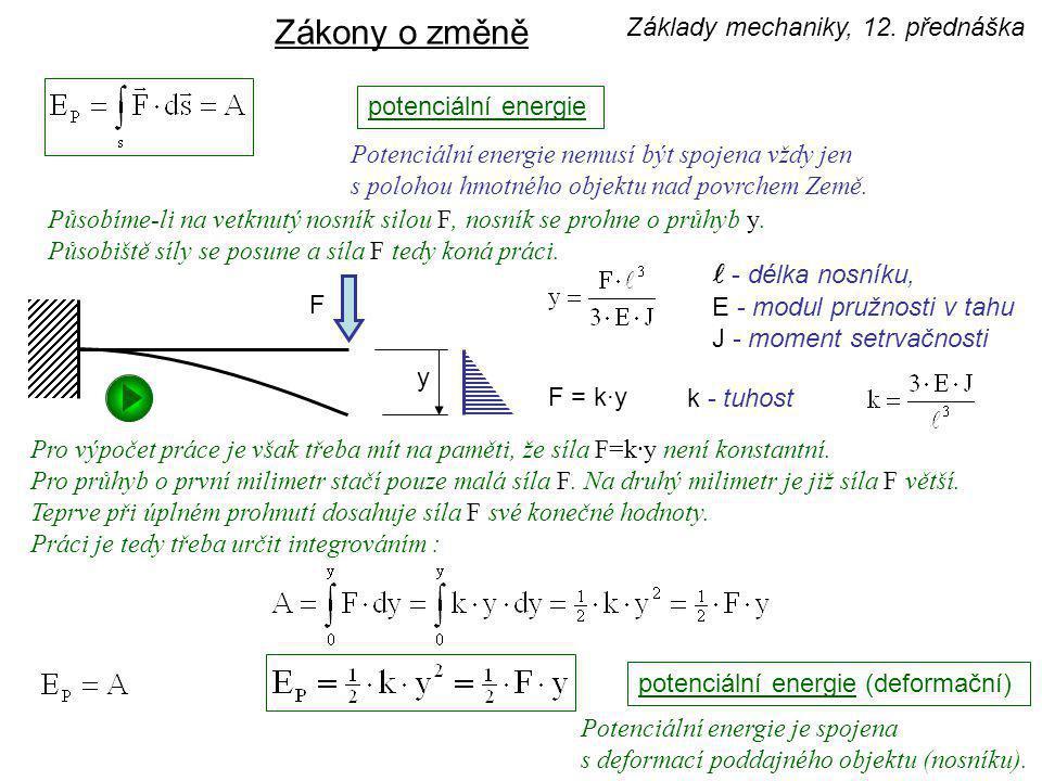 zákon o zachování celkové mechanické energie m h v 0 = 0 E K0 = 0 E P0 = m·g·h E P1 = 0 E K1 = ½·m·v 1 2 v 1 ≠ 0 Celková mechanická energie se zachovává.