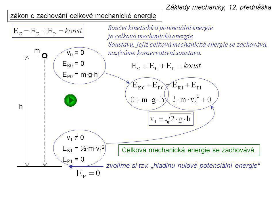 zákon o změně celkové mechanické energie  v h s m G F T N E P1 = m·g·h E K1 = ½·m·v 1 2 E P0 = 0 E K0 = ½·m·v 0 2 E C1 E C0 A Změna celkové mechanické energie je rovna práci nekonzervativních sil.