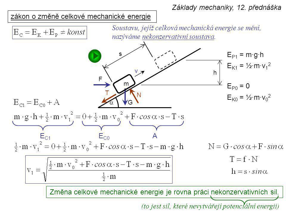  v h s m G F T N m h Způsob výpočtu dynamiky, založený na rozboru celkové mechanické energie, se nazývá energetická bilance.