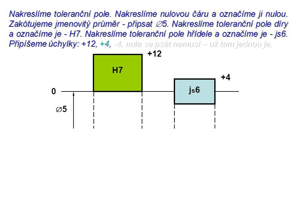 Nakreslíme toleranční pole. Nakreslíme nulovou čáru a označíme ji nulou. Zakótujeme jmenovitý průměr - připsat  5. Nakreslíme toleranční pole díry a
