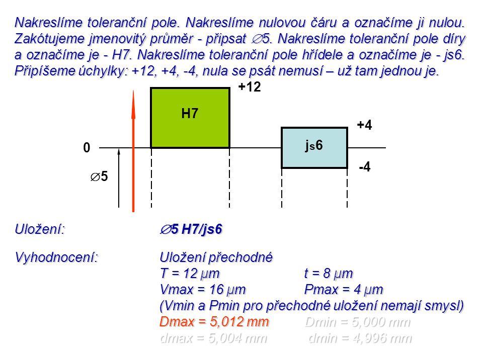 Uložení:  5 H7/js6 Vyhodnocení:Uložení přechodné T = 12 µmt = 8 µm Vmax = 16 µmPmax = 4 µm (Vmin a Pmin pro přechodné uložení nemají smysl) Dmax = 5,