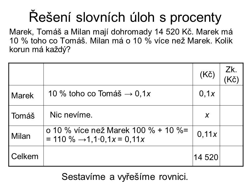 Řešení slovních úloh s procenty 0,1x + x + 0,11x = 14 520 1,21x = 14 520/:1,21 x = 12 000 x = 12 000 Kč Provedeme zkoušku do tabulky.