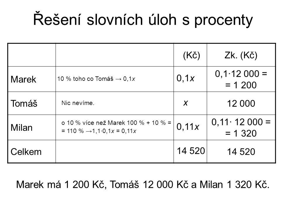 Řešení slovních úloh s procenty (Kč)Zk.