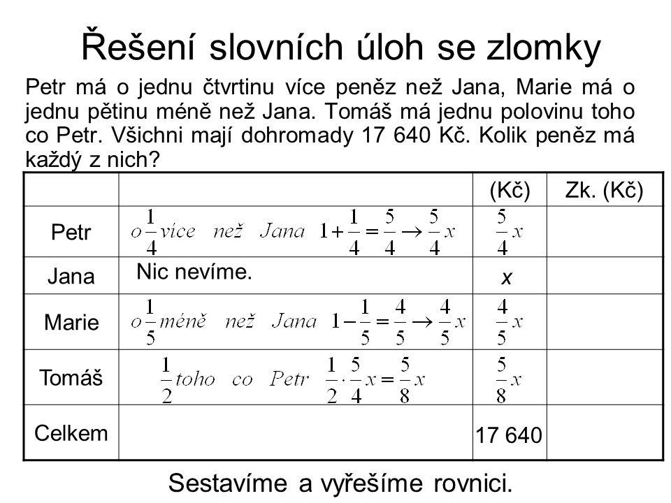 Řešení slovních úloh se zlomky Petr má o jednu čtvrtinu více peněz než Jana, Marie má o jednu pětinu méně než Jana.