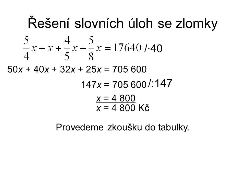 Řešení slovních úloh se zlomky (Kč)Zk.(Kč) Petr Jana Marie Tomáš Celkem Nic nevíme.