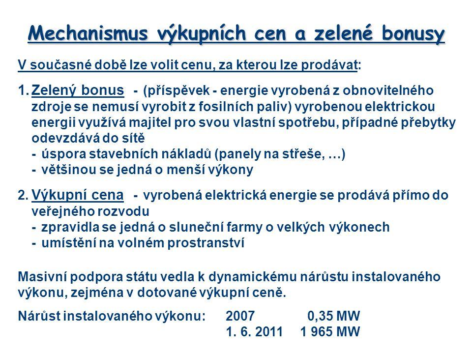 Mechanismus výkupních cen a zelené bonusy V současné době lze volit cenu, za kterou lze prodávat: 1.Zelený bonus -(příspěvek - energie vyrobená z obnovitelného zdroje se nemusí vyrobit z fosilních paliv) vyrobenou elektrickou energii využívá majitel pro svou vlastní spotřebu, případné přebytky odevzdává do sítě -úspora stavebních nákladů (panely na střeše, …) -většinou se jedná o menší výkony 2.