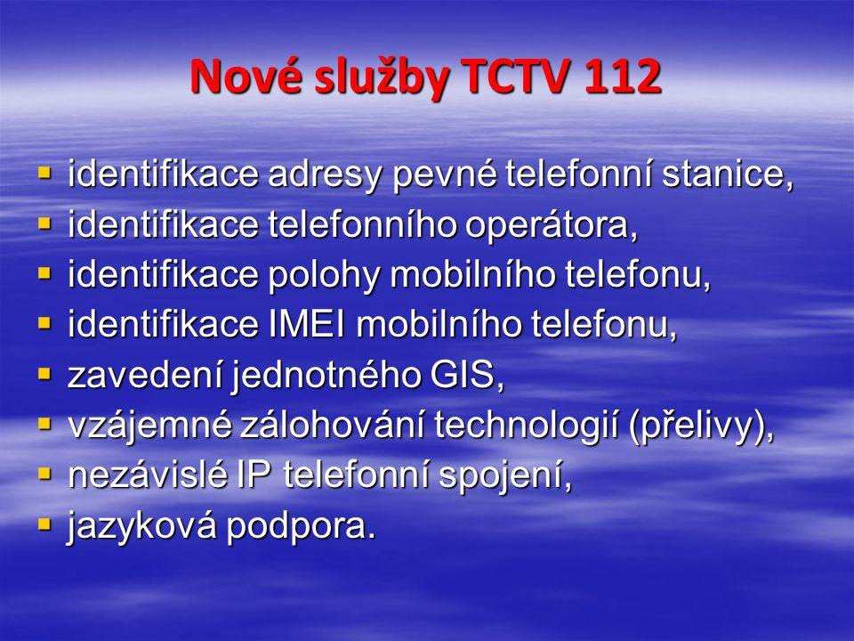 Nové služby TCTV 112  identifikace adresy pevné telefonní stanice,  identifikace telefonního operátora,  identifikace polohy mobilního telefonu, 