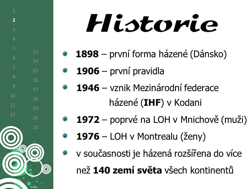 1 2 3 4 5 6 7 8 9 10 11 12 13 14 15 16 17 18 19 20 21 1898 – první forma házené (Dánsko) 1906 – první pravidla 1946 – vznik Mezinárodní federace házené (IHF) v Kodani 1972 – poprvé na LOH v Mnichově (muži) 1976 – LOH v Montrealu (ženy) v současnosti je házená rozšířena do více než 140 zemí světa všech kontinentů