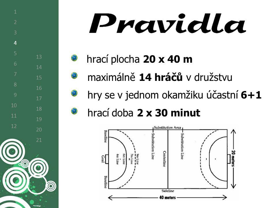 hrací plocha 20 x 40 m maximálně 14 hráčů v družstvu hry se v jednom okamžiku účastní 6+1 hrací doba 2 x 30 minut 1 2 3 4 5 6 7 8 9 10 11 12 13 14 15 16 17 18 19 20 21