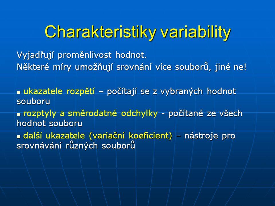 Charakteristiky variability Trasa Doba strávená na cestě (minuty) Průměr 12225272523 2222222224 21525353027 1212121224 Příklad: Doba strávená cestou autem do zaměstnání