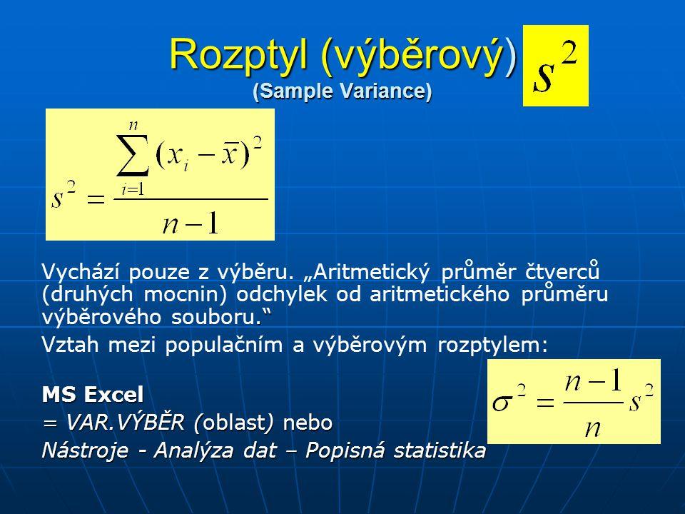 Rozptyl (výběrový) (Sample Variance) i115-981 22511 33511121 430636 52739 612-12144 Celkem392 Rozptyl výběru 78,4 Průměr = 24