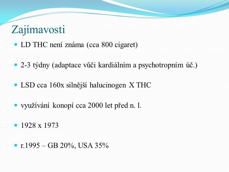 Zajímavosti LD THC není známa (cca 800 cigaret) 2-3 týdny (adaptace vůči kardiálním a psychotropním úč.) LSD cca 160x silnější halucinogen X THC využívání konopí cca 2000 let před n.