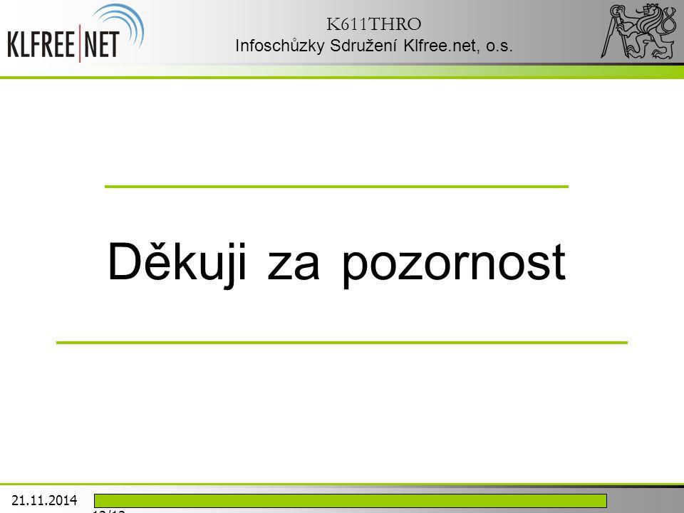 Děkuji za pozornost K611THRO Infoschůzky Sdružení Klfree.net, o.s. 21.11.2014 12/12