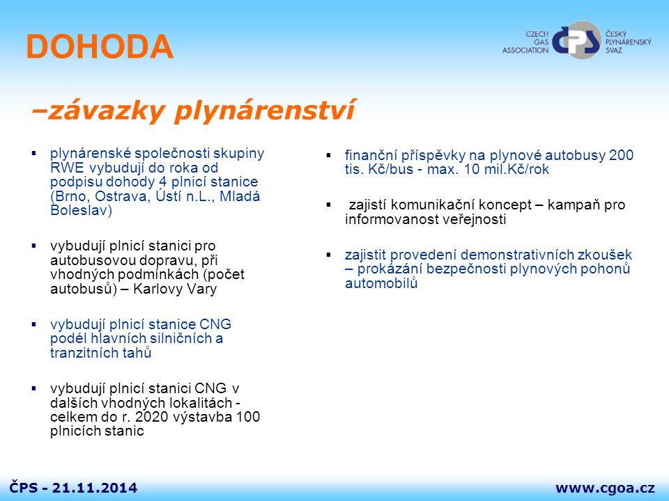 www.cgoa.czČPS - 21.11.2014 DOHODA  plynárenské společnosti skupiny RWE vybudují do roka od podpisu dohody 4 plnicí stanice (Brno, Ostrava, Ústí n.L.