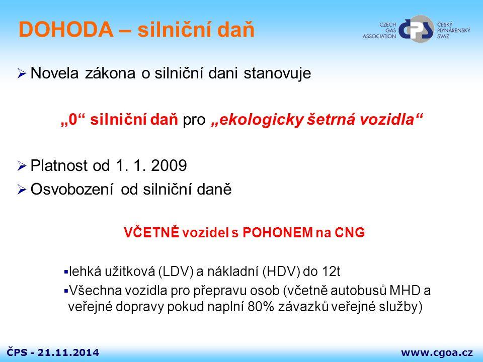 """www.cgoa.czČPS - DOHODA – silniční daň  Novela zákona o silniční dani stanovuje """"0"""" silniční daň pro """"ekologicky šetrná vozidla""""  Platnost od 1. 1."""