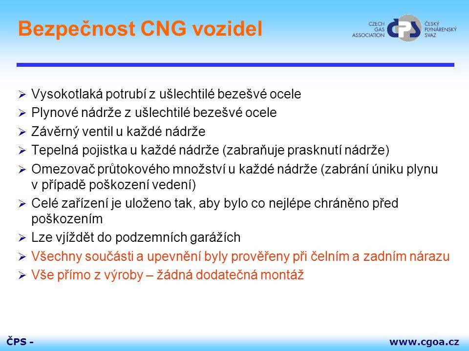 www.cgoa.czČPS - Bezpečnost CNG vozidel  Vysokotlaká potrubí z ušlechtilé bezešvé ocele  Plynové nádrže z ušlechtilé bezešvé ocele  Závěrný ventil