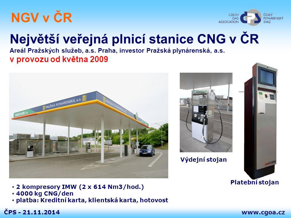 www.cgoa.czČPS - NGV v ČR 21.11.2014 Největší veřejná plnicí stanice CNG v ČR Areál Pražských služeb, a.s. Praha, investor Pražská plynárenská, a.s. v