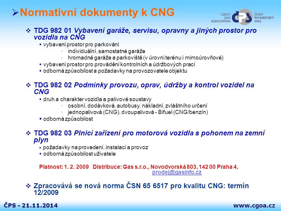 www.cgoa.czČPS - 21.11.2014  Normativní dokumenty k CNG  TDG 982 01 Vybavení garáže, servisu, opravny a jiných prostor pro vozidla na CNG  vybavení