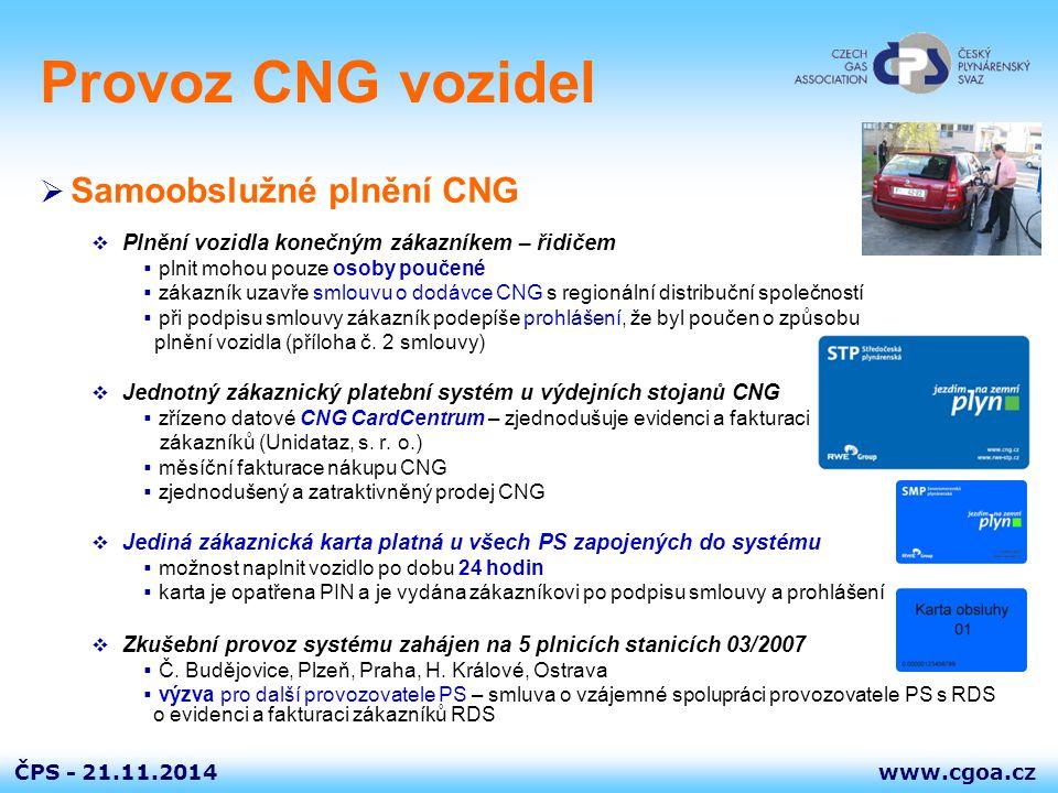 www.cgoa.czČPS - 21.11.2014 Provoz CNG vozidel  Samoobslužné plnění CNG  Plnění vozidla konečným zákazníkem – řidičem  plnit mohou pouze osoby pouč