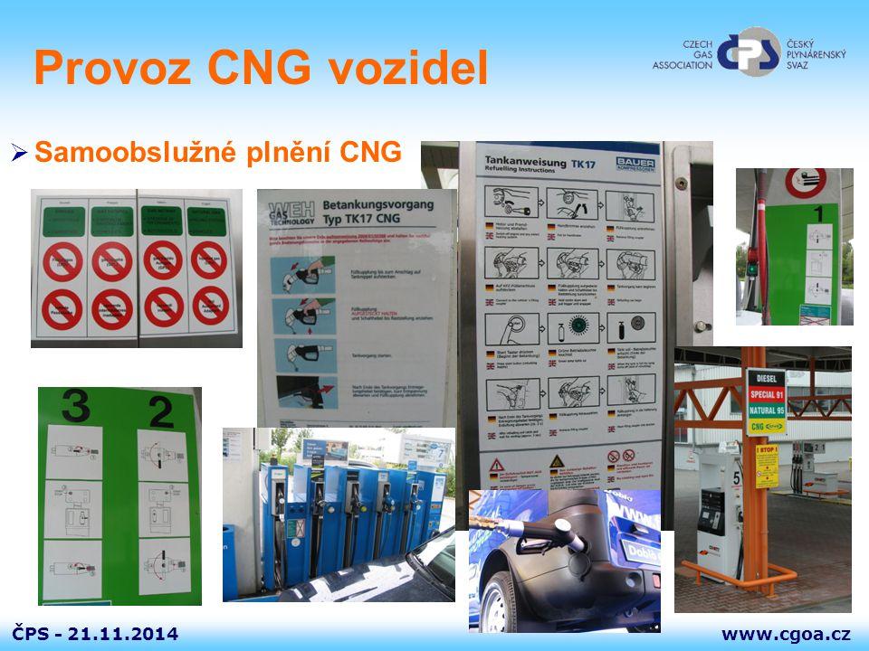 www.cgoa.czČPS - 21.11.2014 Provoz CNG vozidel  Samoobslužné plnění CNG