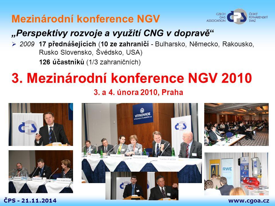"""www.cgoa.czČPS - 21.11.2014 Mezinárodní konference NGV """"Perspektivy rozvoje a využití CNG v dopravě""""  2009 17 přednášejících (10 ze zahraničí - Bulha"""