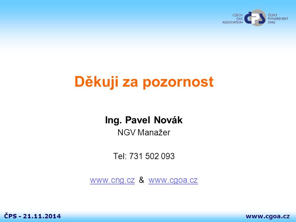www.cgoa.czČPS - 21.11.2014 Děkuji za pozornost Ing. Pavel Novák NGV Manažer Tel: 731 502 093 www.cng.czwww.cng.cz & www.cgoa.czwww.cgoa.cz
