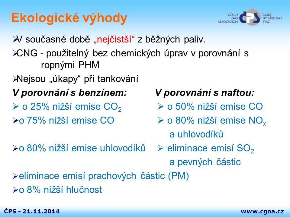 """www.cgoa.czČPS - Ekologické výhody  V současné době """"nejčistší"""" z běžných paliv.  CNG - použitelný bez chemických úprav v porovnání s ropnými PHM """