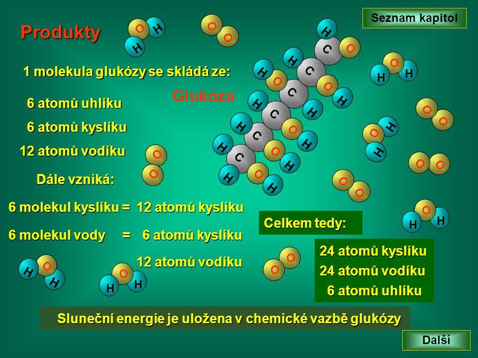 Seznam kapitol Další CC HH C O H H O C H O H C O HH C O HH O H O O H O H H O H H O H O O O O O O H O H O O H O H H O H Glukóza O O 6 atomů uhlíku 12 a