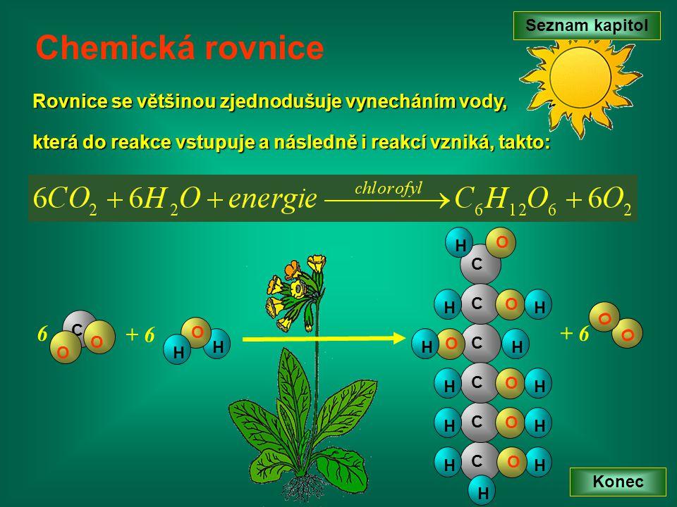 Seznam kapitol Konec Chemická rovnice C O O C C HH H C O HH O C H O H C O HH C O HH O H H O H 6 + 6 O O Rovnice se většinou zjednodušuje vynecháním vo