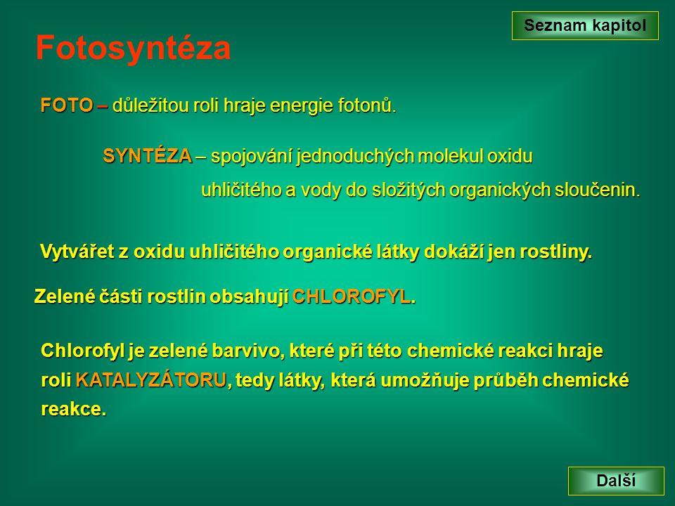 Seznam kapitol Další Podmínky fotosyntézy C O O C O O O H H O H H Při fotosyntéze rostlina spotřebovává vzdušný oxid uhličitý a vodu.