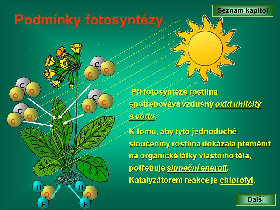 Seznam kapitol Další Podmínky fotosyntézy C O O C O O O H H O H H Při fotosyntéze rostlina spotřebovává vzdušný oxid uhličitý a vodu. K tomu, aby tyto