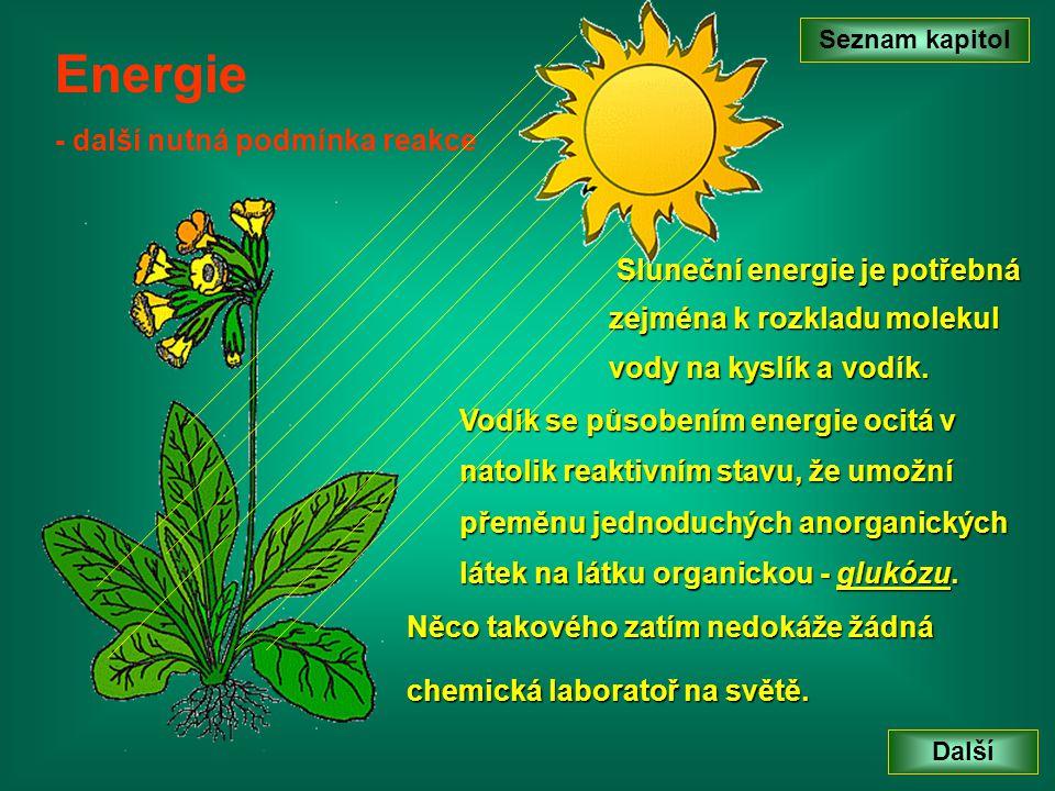 Seznam kapitol Další Energie - další nutná podmínka reakce Sluneční energie je potřebná zejména k rozkladu molekul vody na kyslík a vodík. Vodík se pů