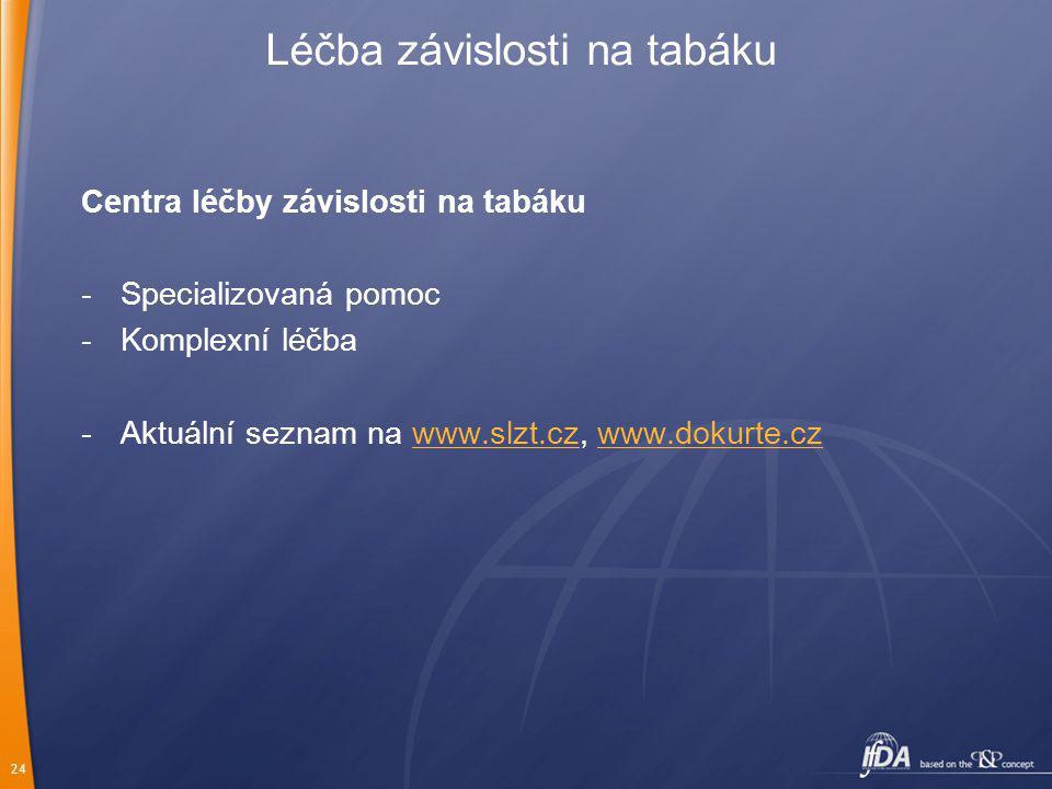 24 Centra léčby závislosti na tabáku -Specializovaná pomoc -Komplexní léčba -Aktuální seznam na www.slzt.cz, www.dokurte.czwww.slzt.czwww.dokurte.cz Léčba závislosti na tabáku