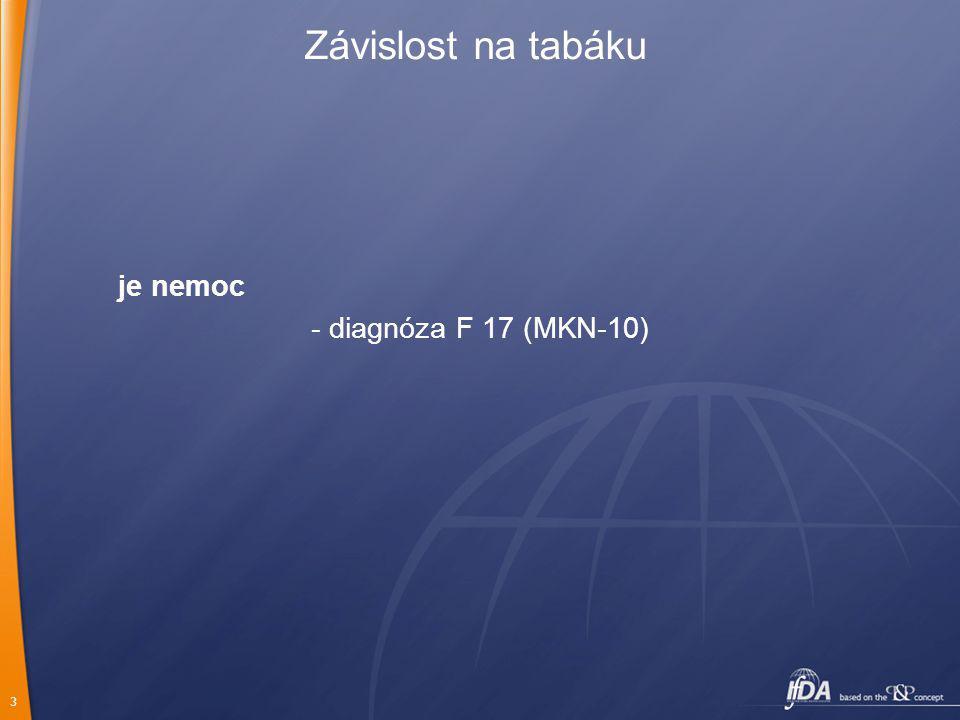 3 je nemoc - diagnóza F 17 (MKN-10) Závislost na tabáku