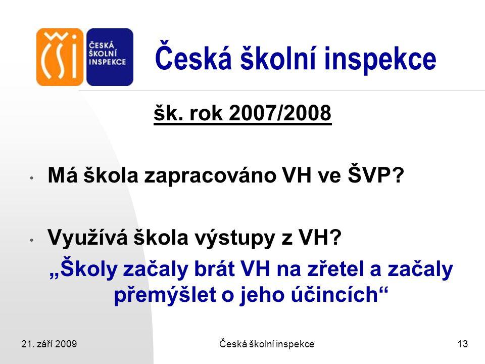 """21. září 2009Česká školní inspekce13 Česká školní inspekce šk. rok 2007/2008 Má škola zapracováno VH ve ŠVP? Využívá škola výstupy z VH? """"Školy začaly"""