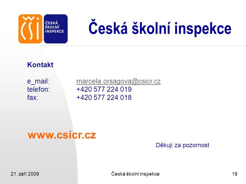 21. září 2009Česká školní inspekce18 Česká školní inspekce www.csicr.cz Děkuji za pozornost Kontakt e_mail:marcela.orsagova@csicr.czmarcela.orsagova@c