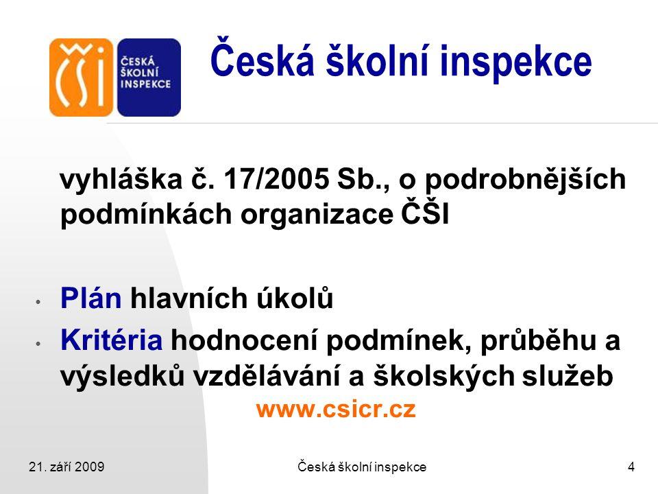 21. září 2009Česká školní inspekce4 vyhláška č. 17/2005 Sb., o podrobnějších podmínkách organizace ČŠI Plán hlavních úkolů Kritéria hodnocení podmínek