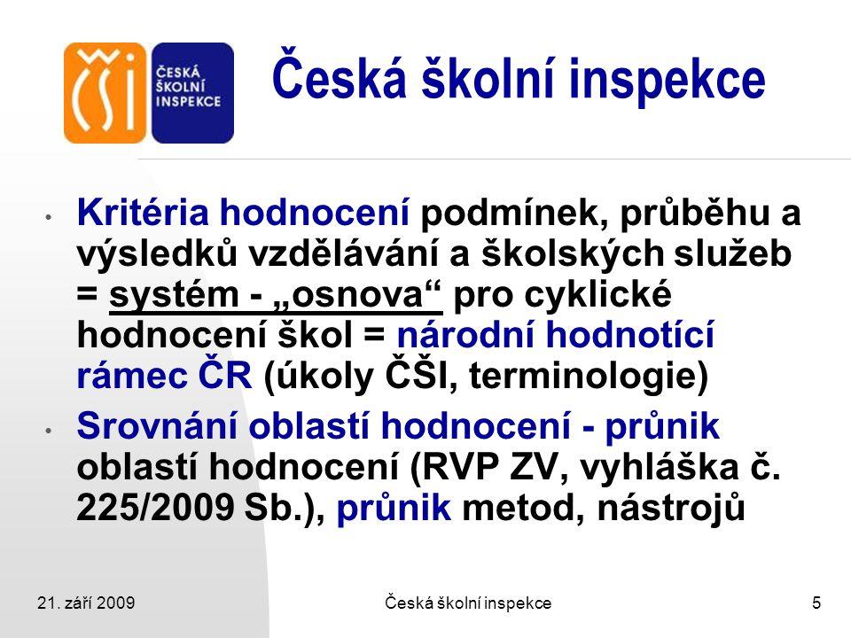 """21. září 2009Česká školní inspekce5 Kritéria hodnocení podmínek, průběhu a výsledků vzdělávání a školských služeb = systém - """"osnova"""" pro cyklické hod"""