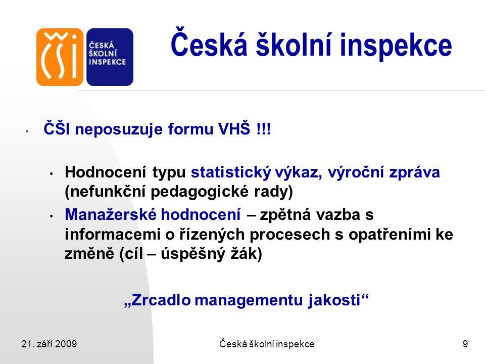 21. září 2009Česká školní inspekce9 ČŠI neposuzuje formu VHŠ !!! Hodnocení typu statistický výkaz, výroční zpráva (nefunkční pedagogické rady) Manažer