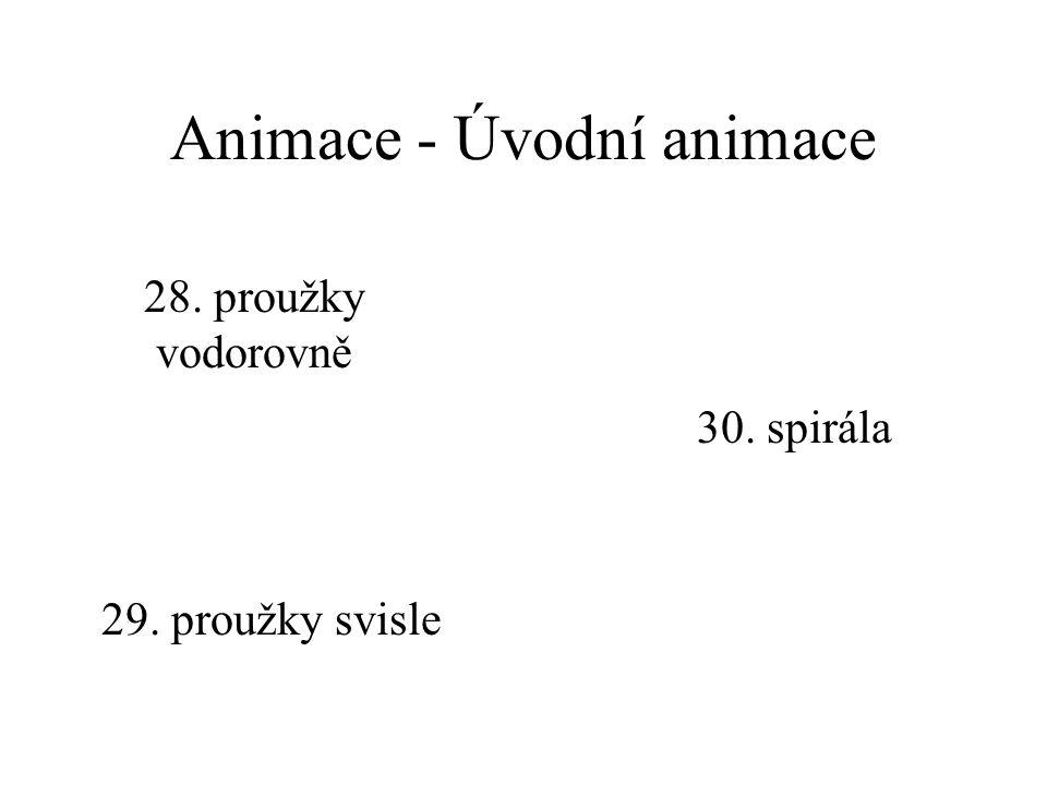 Animace - Úvodní animace 24. postupně zdola 25. postupně zleva 26. postupně zprava 27. postupně shora