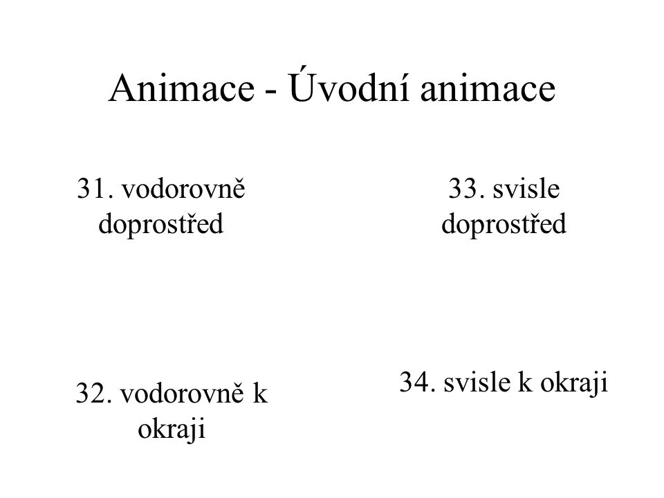 Animace - Úvodní animace 28. proužky vodorovně 29. proužky svisle 30. spirála