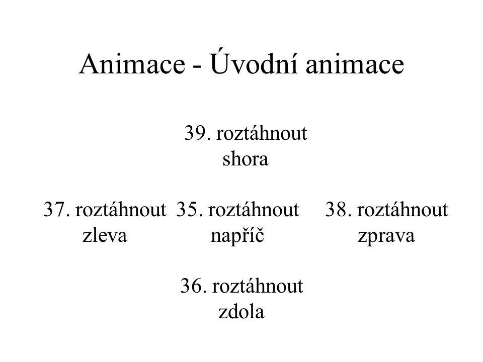 Animace - Úvodní animace 31. vodorovně doprostřed 32. vodorovně k okraji 33. svisle doprostřed 34. svisle k okraji