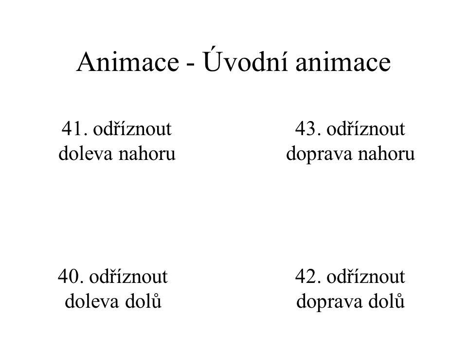 Animace - Úvodní animace 36. roztáhnout zdola 37. roztáhnout zleva 38. roztáhnout zprava 39. roztáhnout shora 35. roztáhnout napříč