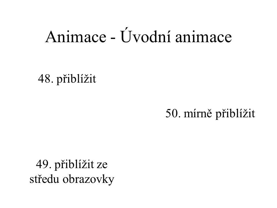 Animace - Úvodní animace 45. rolovat dolů 46. rolovat doleva47. rolovat doprava 48. rolovat nahoru