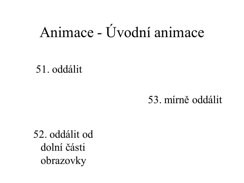 Animace - Úvodní animace 48. přiblížit 49. přiblížit ze středu obrazovky 50. mírně přiblížit