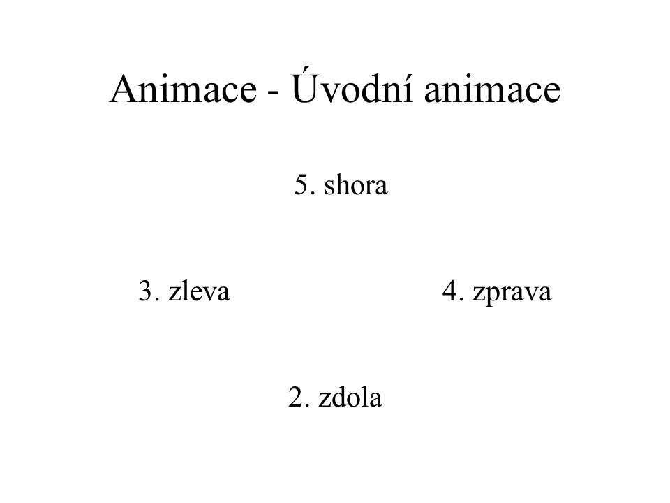 Animace - Úvodní animace 2. zdola 3. zleva4. zprava 5. shora