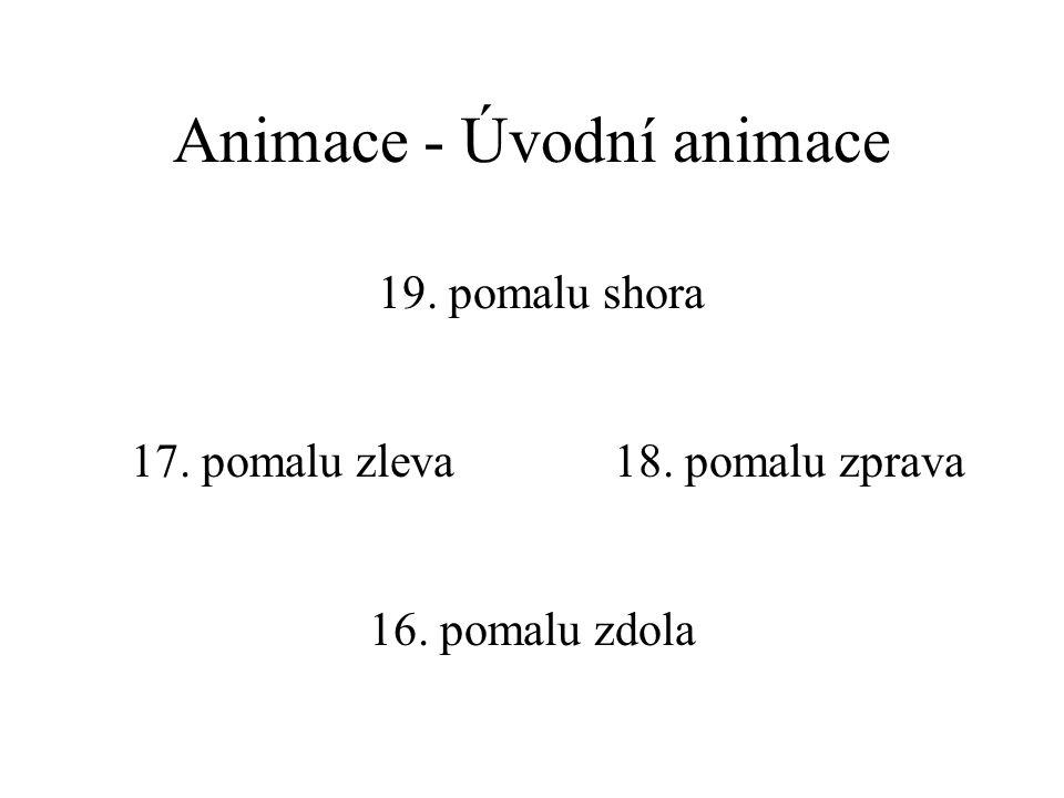 Animace - Úvodní animace 16. pomalu zdola 17. pomalu zleva18. pomalu zprava 19. pomalu shora