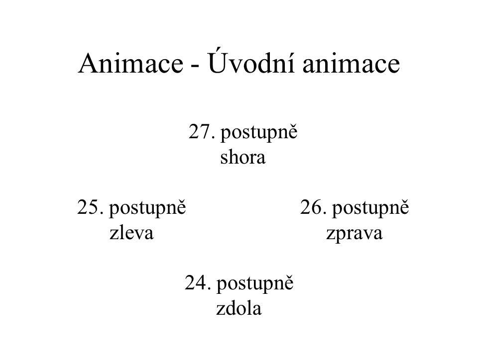 Animace - Úvodní animace 20. prolnout 21. zablesknutí, rychle 22. zablesknutí, středně 23. zablesknutí, pomalu