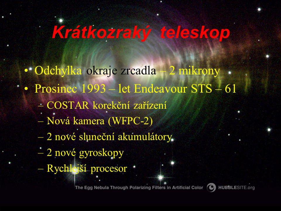 Krátkozraký teleskop Odchylka okraje zrcadla – 2 mikrony Prosinec 1993 – let Endeavour STS – 61 –COSTAR korekční zařízení –Nová kamera (WFPC-2) –2 nové sluneční akumulátory –2 nové gyroskopy –Rychlejší procesor