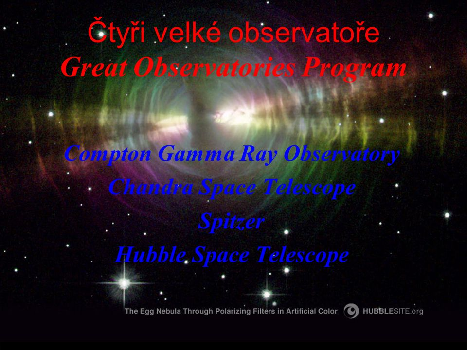 Čtyři velké observatoře Great Observatories Program Compton Gamma Ray Observatory Chandra Space Telescope Spitzer Hubble Space Telescope
